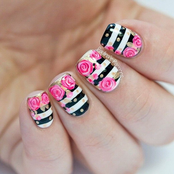 45 pretty flower nail designs for creative juice prinsesfo Image collections