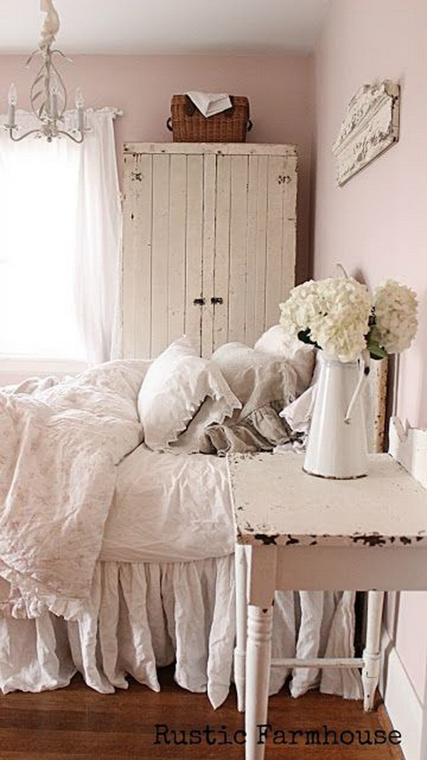 30 cool shabby chic bedroom decorating ideas for for Farmhouse style bedroom