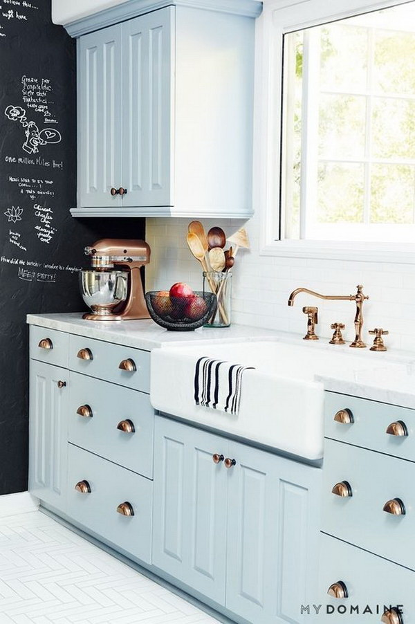 Kitchen cabinet paint color with gorgeous blue for for Cupboard paint colours