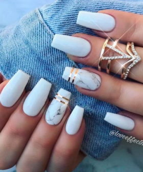 40+ Impressive White Coffin Nail Designs You'll Flip For in 2020