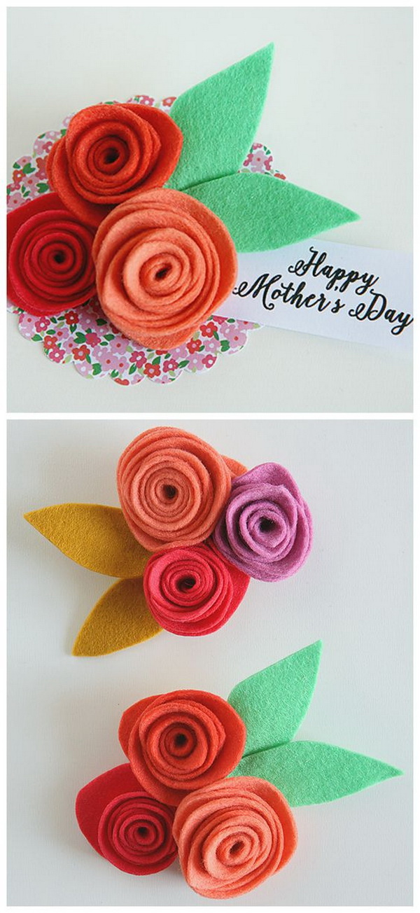 Felt Flower Corsages for Mother's Day .